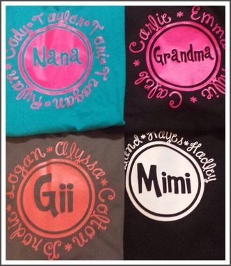 Mimi Nana Grandma Yaya Neenee Etc Shirts Vinyl Monogram Cricut Vinyl Silhouette Cameo Projects