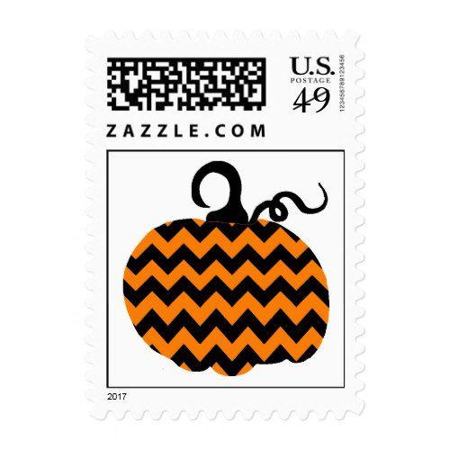 Chevron Pumpkin Halloween Postage