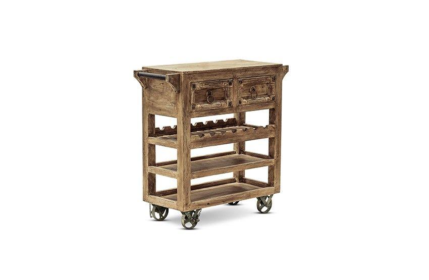 Küchenwagen Maya - recyceltes Altholz - hellbraun - antikfinish - küchenwagen mit schubladen