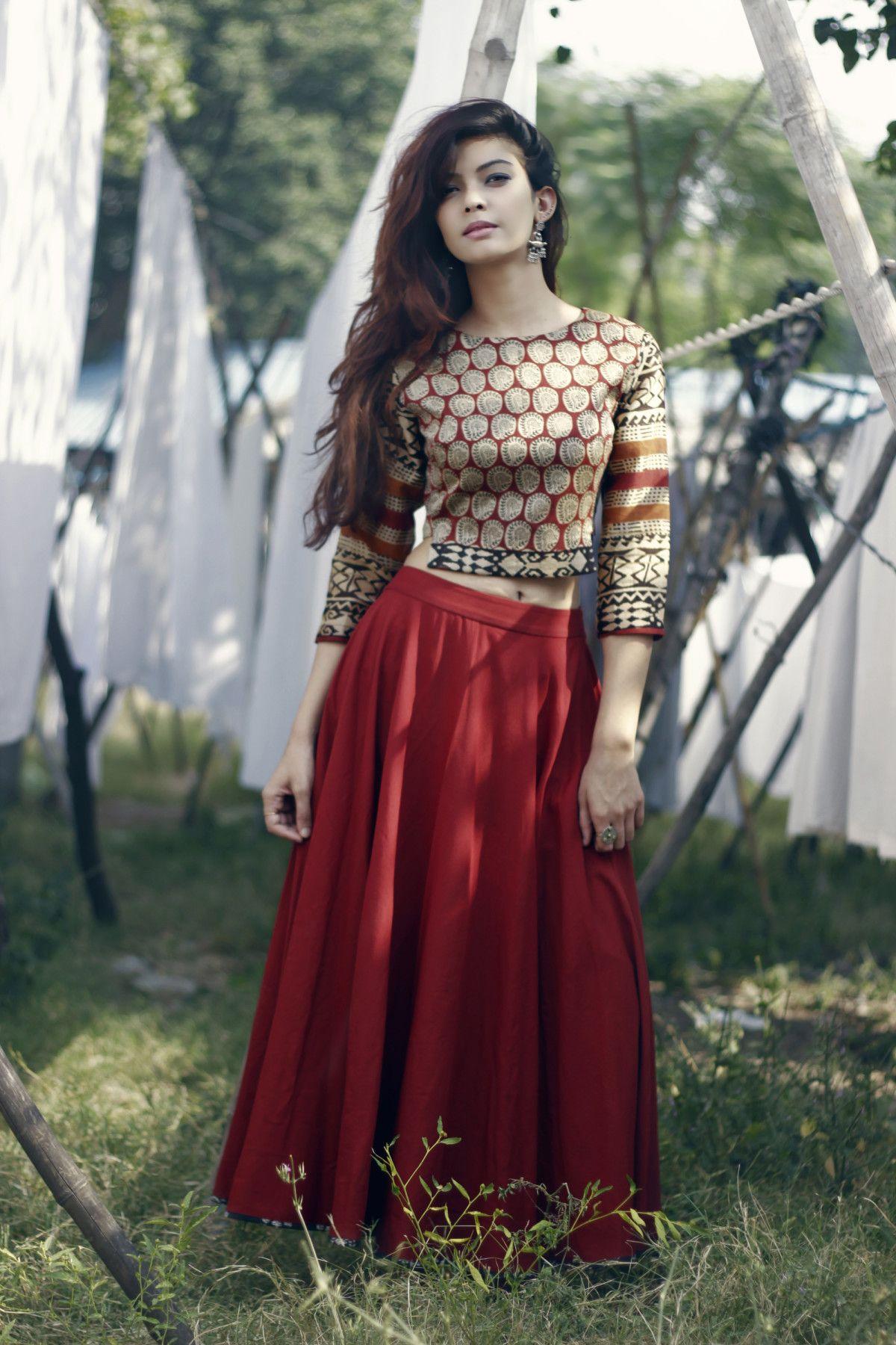 Shop Chanderi buta skirt set Long skirt outfits, Long