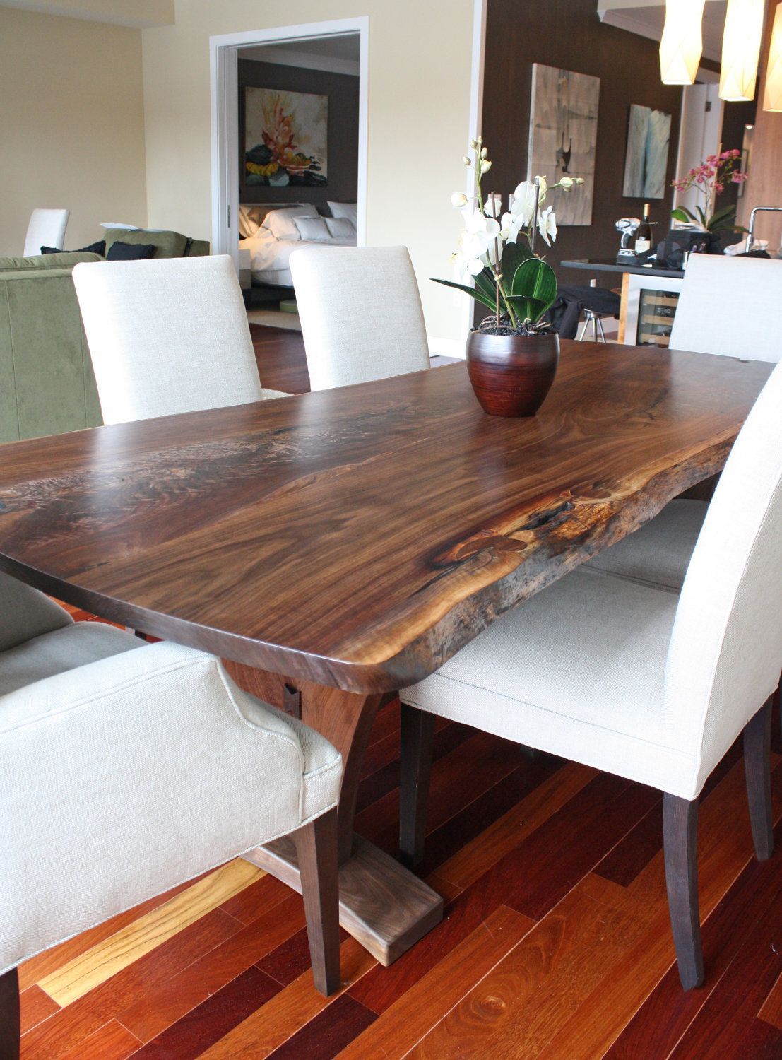 Wood dining with wrought iron quot clasp quot base very popular dining - Dining Table Modern With Walnut Slab