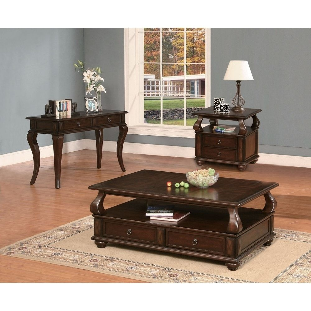 Benzara Elegant Coffee Table With 2 Drawers  Walnut Brown Beauteous Living Room Table Sets Design Ideas
