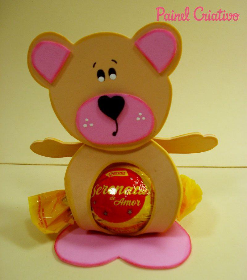 Passo a passo lembracinha em EVA  porta bombom ursinho para festa aniversario,chá de bebe, maternidade (5)