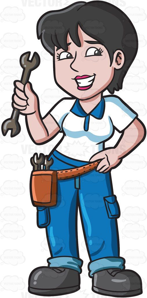 A smiling female mechanic in an automobile shop cartoon clipart