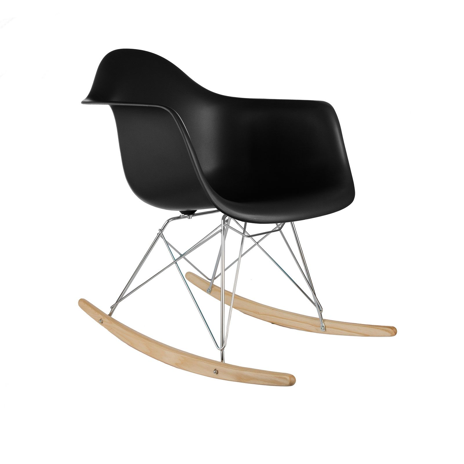 Modern Ash Wood Rocker In Black, Herman Miller Design -