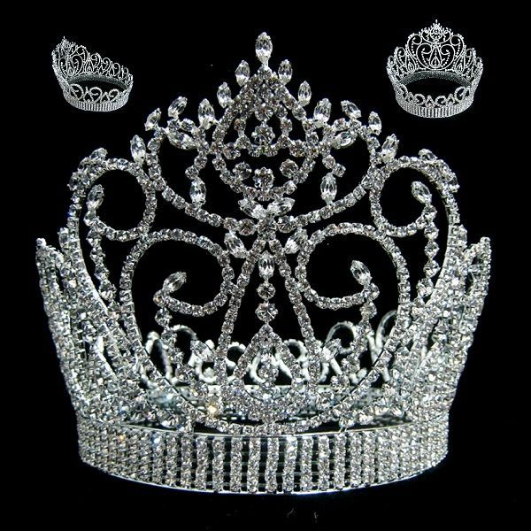 Miss American Beauty Pageant Queen Rhinestone Crown Silver FULL