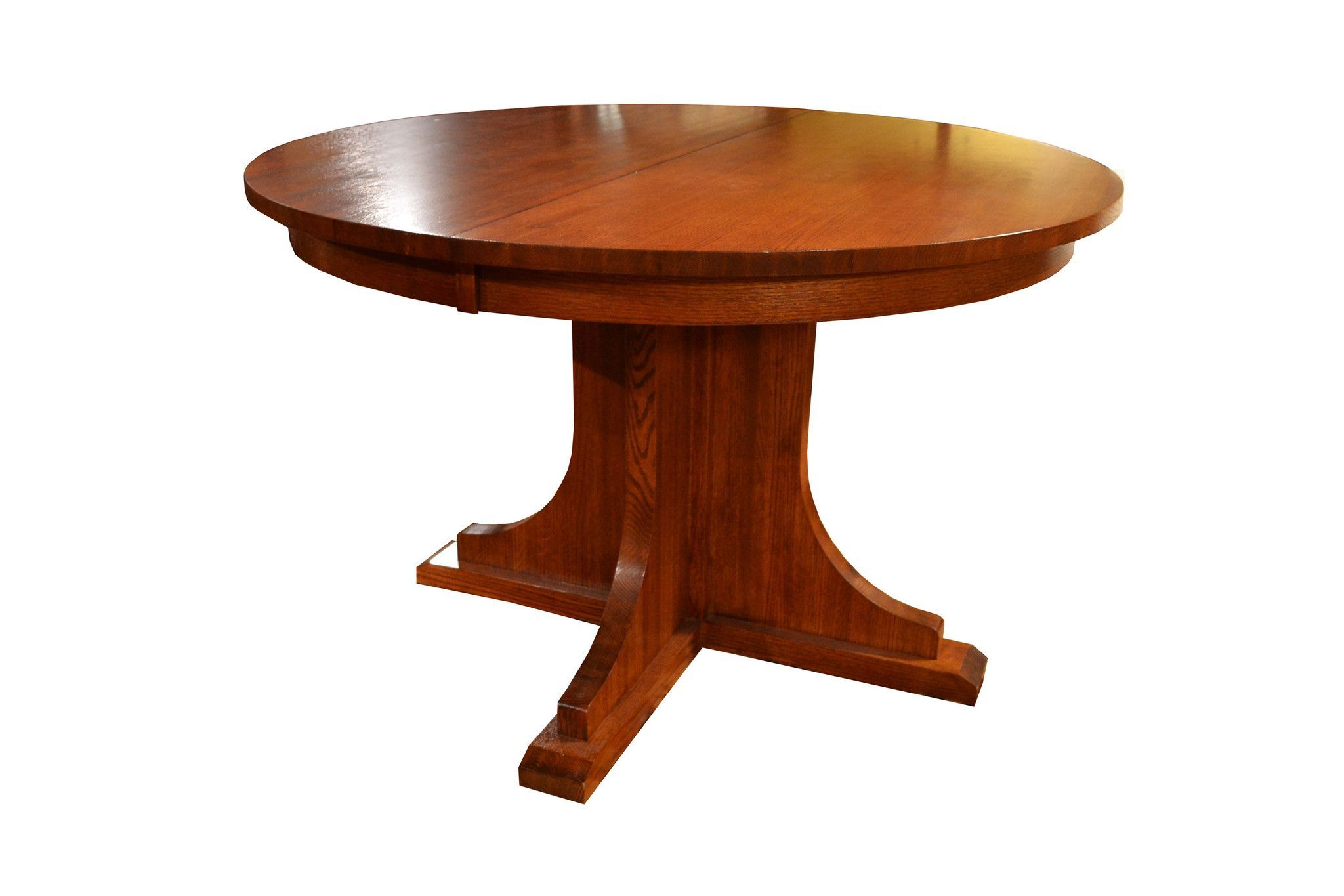 Solid Oak Round Dining Table With 2 Leaves Round Dining Table Wood Table Diy Craftsman Dining Tables