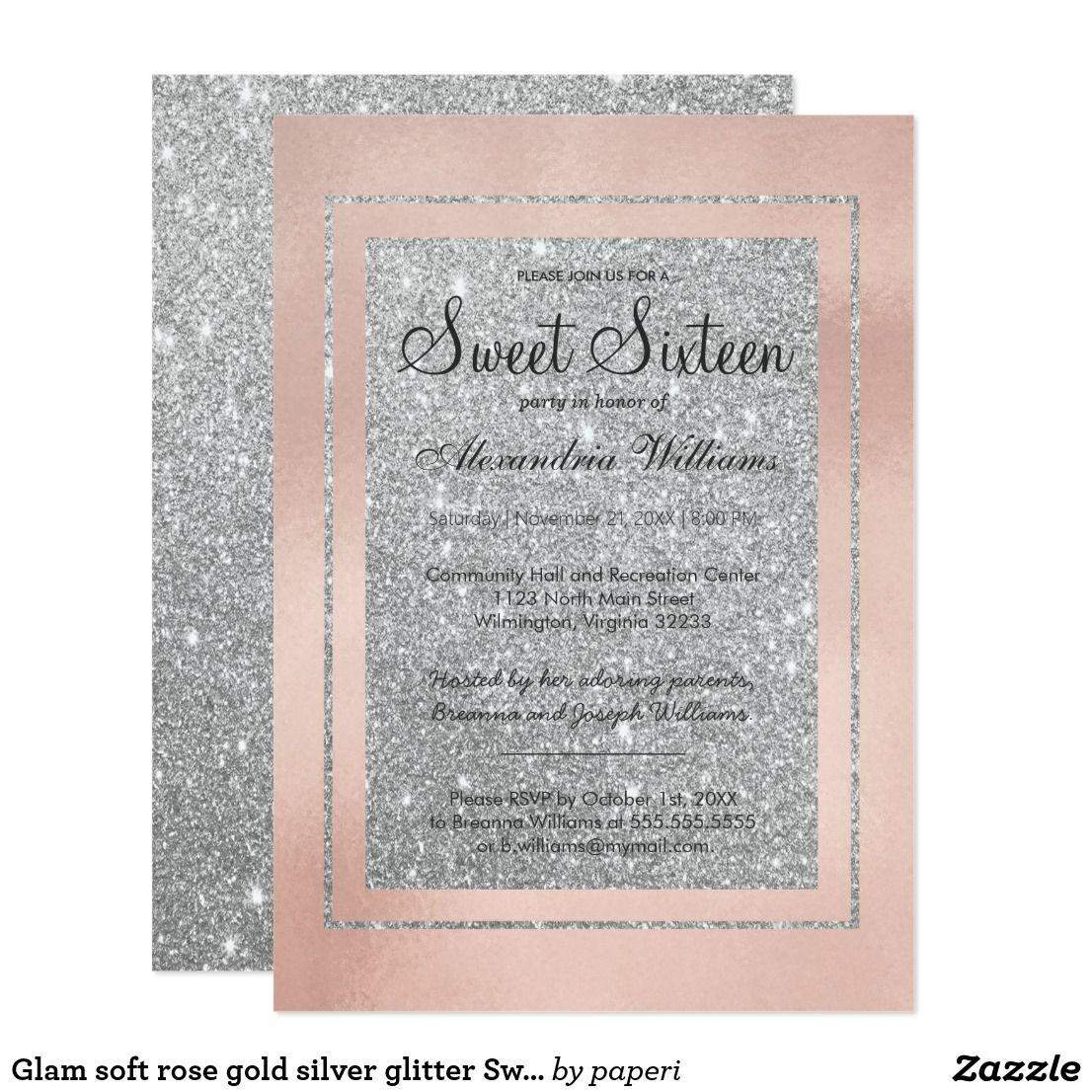 Glam Soft Rose Gold Silver Glitter
