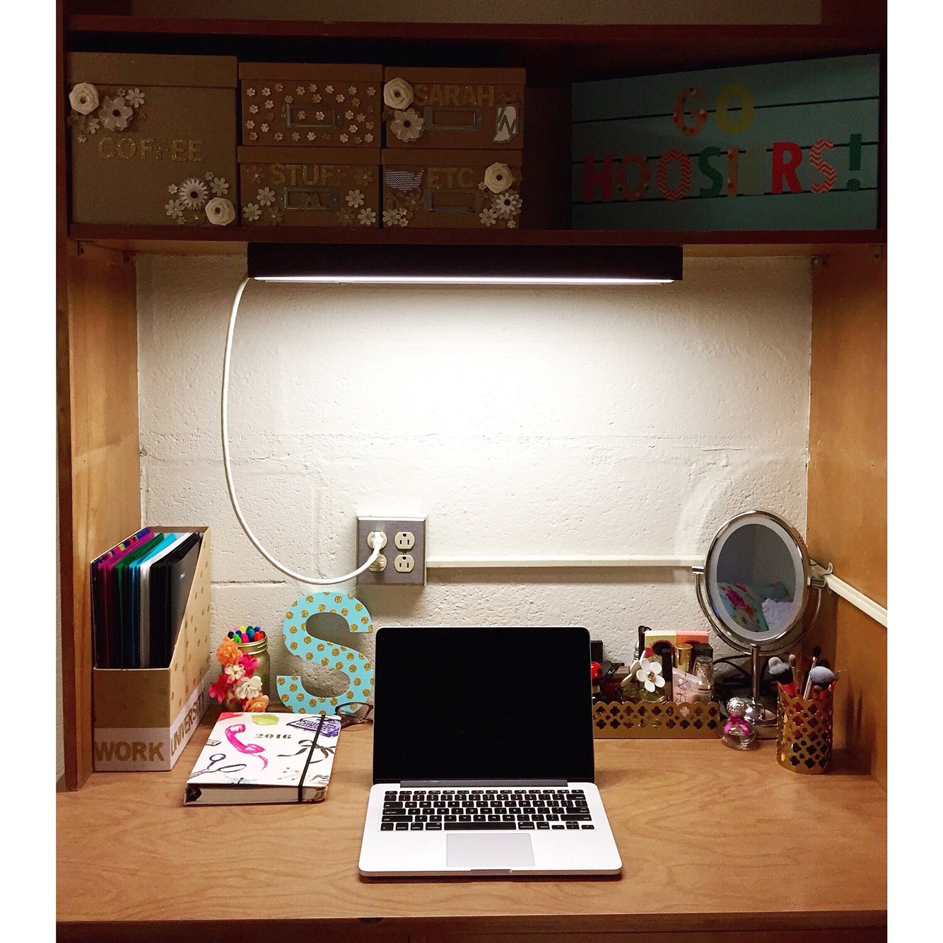Girl dorm desk decor - My dorm at IU!