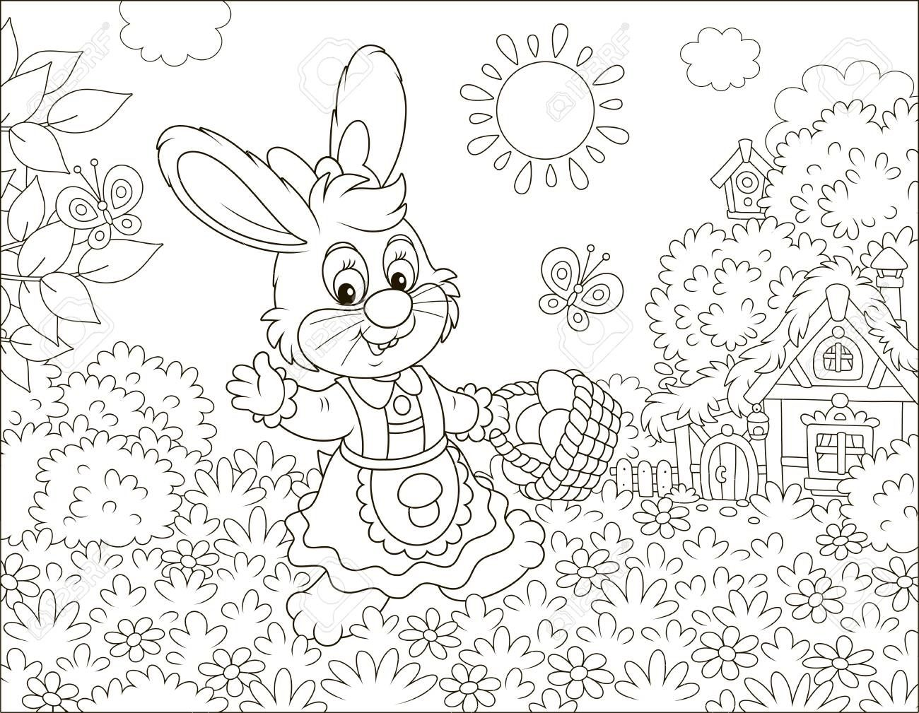Friendly Smiling Easter Bunny With A Basket Of Colored Eggs Walking In Front Of A Small Hut Among Flowers On Su Cartoon Styles Coloring Books Coloring Pictures