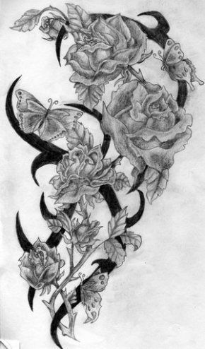 Photo of Rose and Butterfly Tattoos with Words | My left arm half sleeve –  # –  Rose and…