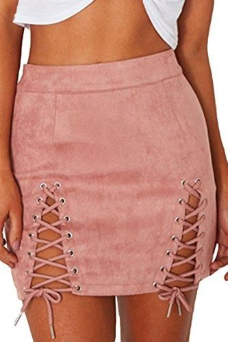eec3a60a9 Womens Sexy High Waist Lace Up Bodycon Faux Suede Split Tight Mini Skirt