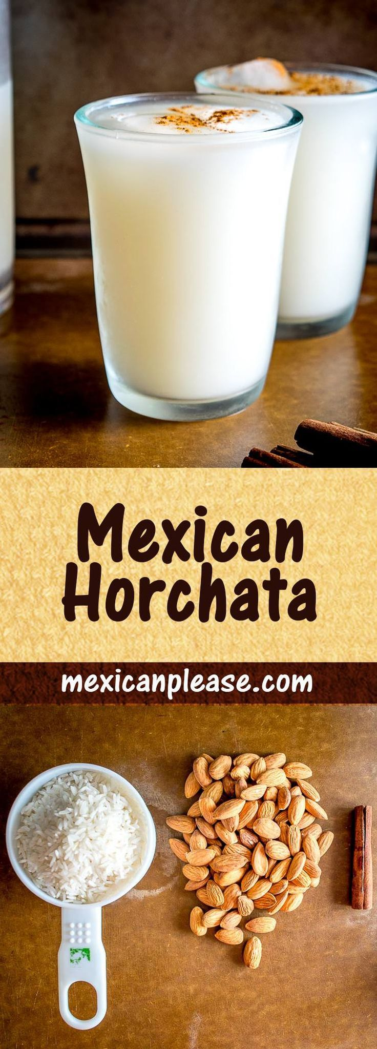 Horchata is one of Mexico's most common agua frescas:  an easy-to-make rice flavored drink that offers up all sorts of great combos.  Lately I've been adding coconut milk to it -- yum!  #horchata  mexicanplease.com