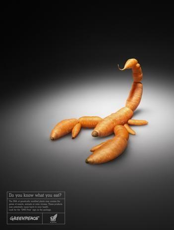 La imagen quiere transmitir que la mayoría de las veces no sabemos lo que comemos y como nos puede afectar.  Compara un alimento (zanahorias) con un escorpión, dejando la idea de que ambos podrían ser peligrosos