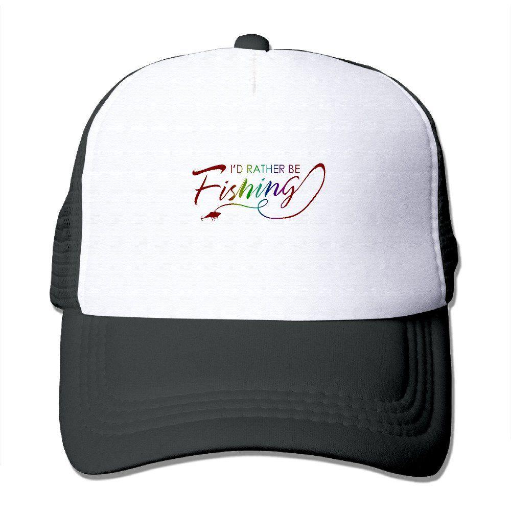 02afa0f407e Unisex I d Rather Be Fishing Good Vibes Adjustable Mesh Hat Trucker  Baseball Cap.