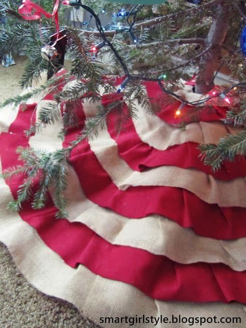 smartgirlstyle Burlap Tree Skirt No-Sew DIY Christmas Winter New