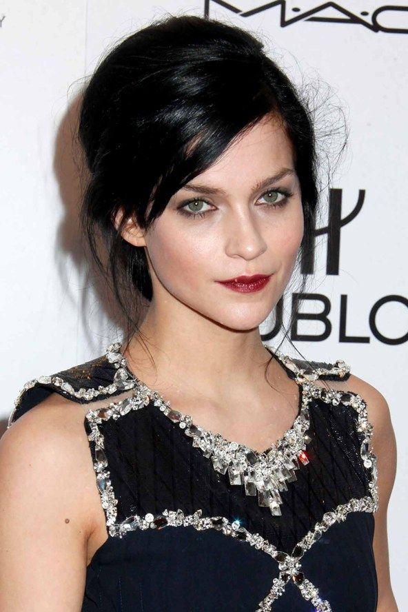 Awesome Celebrities With Jet Black Hair Vampy Lipstick Nail Varnish