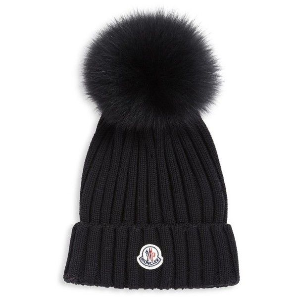 Moncler Berretto Rib Knit Wool & Fur Pompom Hat ($335