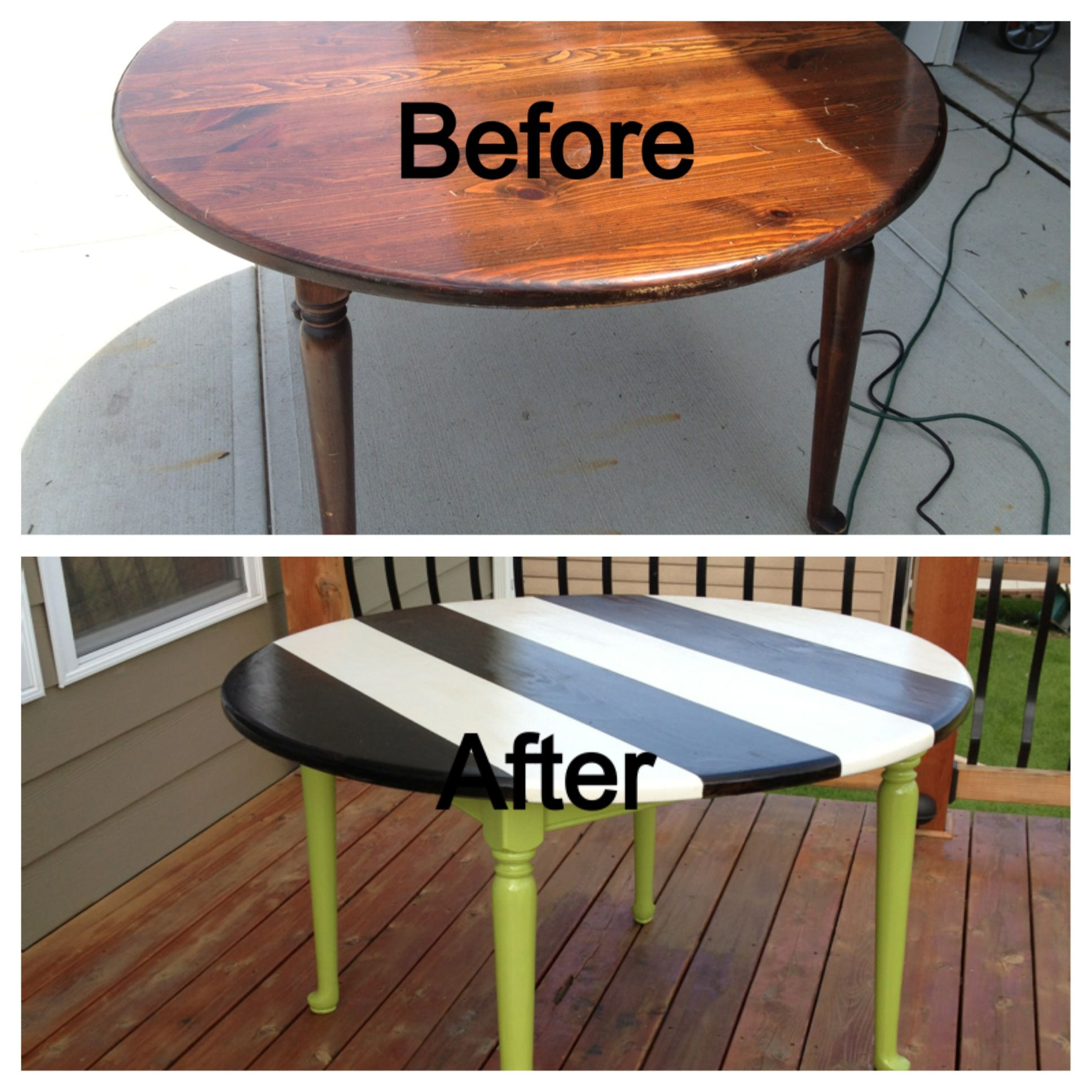 Refurbished Kitchen Table And Chairs: Refurbished Kitchen Table. Black And White Striped Table With Lime Green Base.