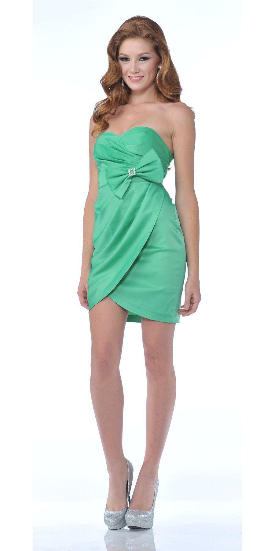 CLEARANCE - Short Green Cocktail Dress Tulip Skirt Strapless Bow Waist Wrap bd54b1703