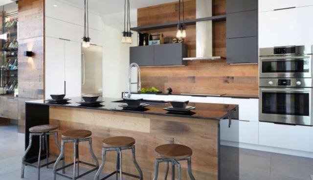 really stylish kitchen island New house Pinterest Wooden