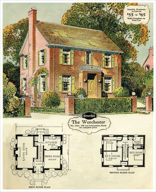 1929 Sears Brick Veneer The Worchester Colonial House Plans Vintage House Plans Sims House Plans
