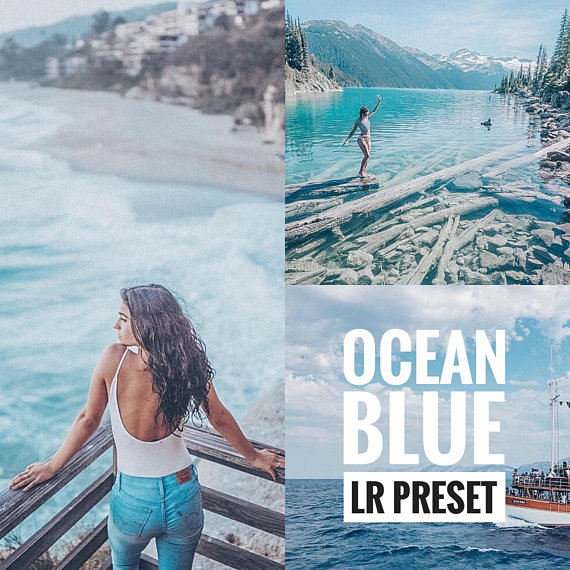 OCEAN BLUE - Lightroom preset mobile, Blue summer trendy travel blog