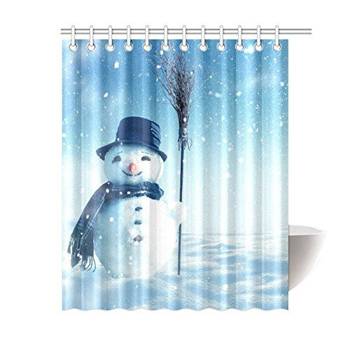 InterestPrint Winter Home Bath Decor, Christmas Snowman Polyester Fabric  Shower Curtain Bathroom Sets 60 X