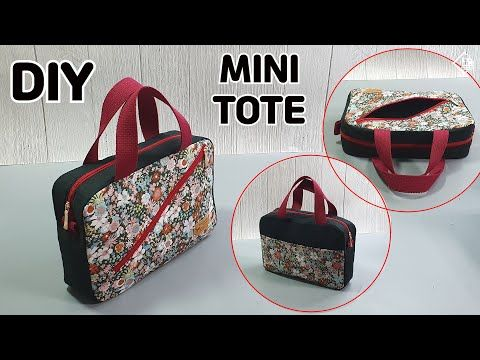 DIY Mini Tote with diagonal zip pocket/ Free Pattern / Zipper Pouch/ Sewing [Tendersmile Handmade]