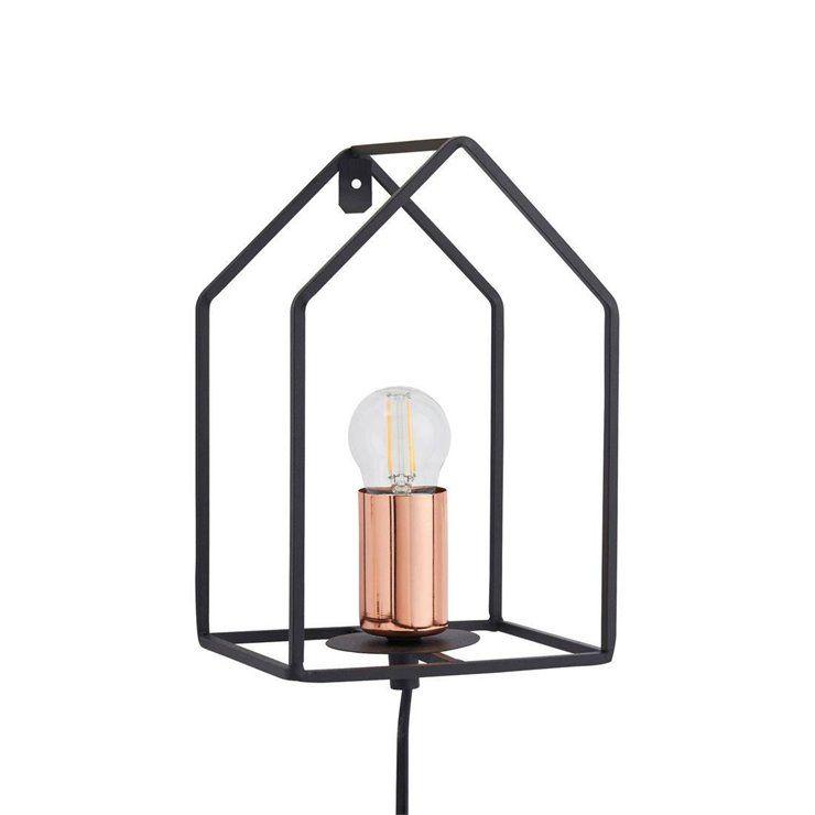 Home Applique Murale Maison Metal Avec Prise H25cm Noir Brilliant In 2020 Wall Lights Candle Sconces Sconces