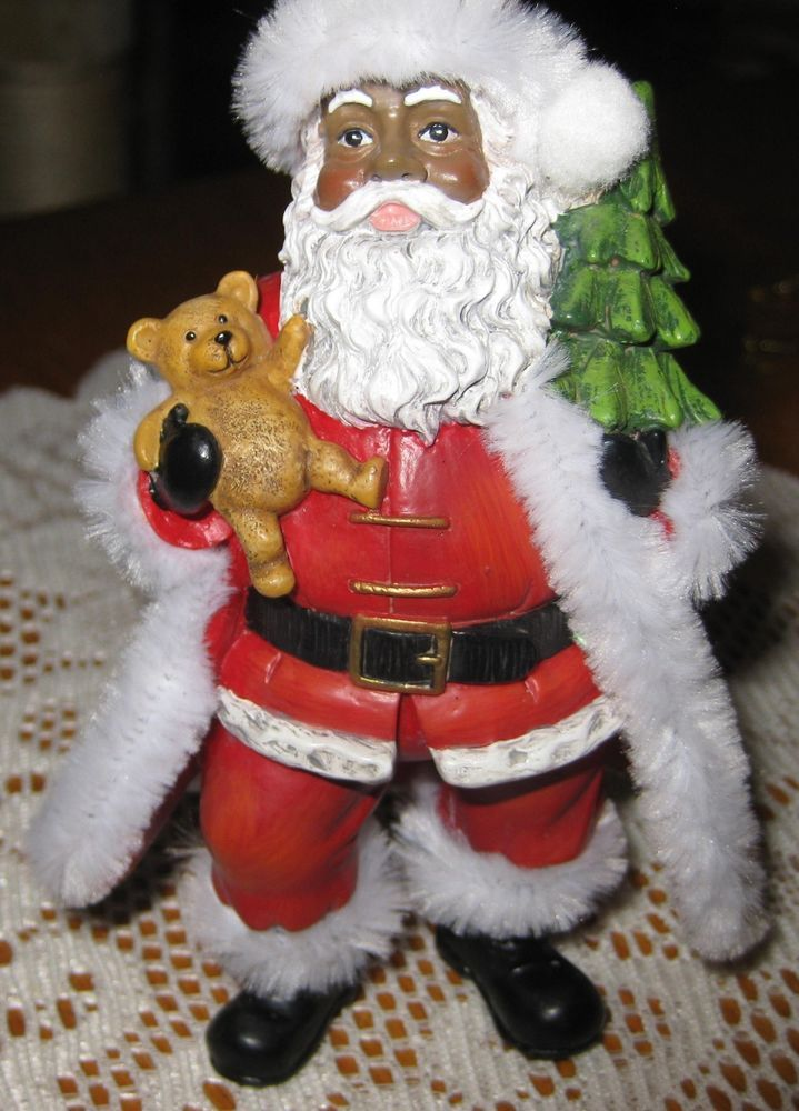 African american black santa ornament with tree