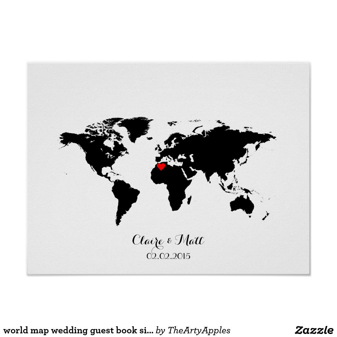 World map wedding guest book signing board white canvas red heart world map wedding guest book signing board teal poster gumiabroncs Choice Image