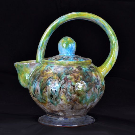 Teapot, Greens, Blues and Purple, 9 inches high