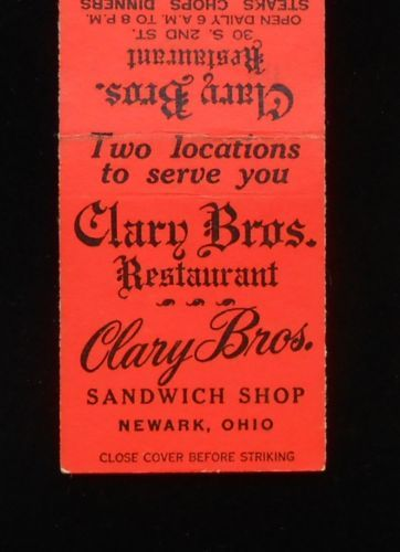 1940s Matchbook Clary Bros Restaurant And Sandwich Newark Oh Licking Co