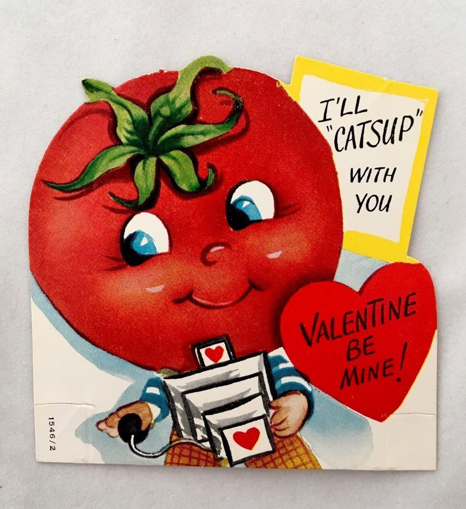 Vintage Die Cut Valentines Day Card Cute Anthropomorphic Tomato