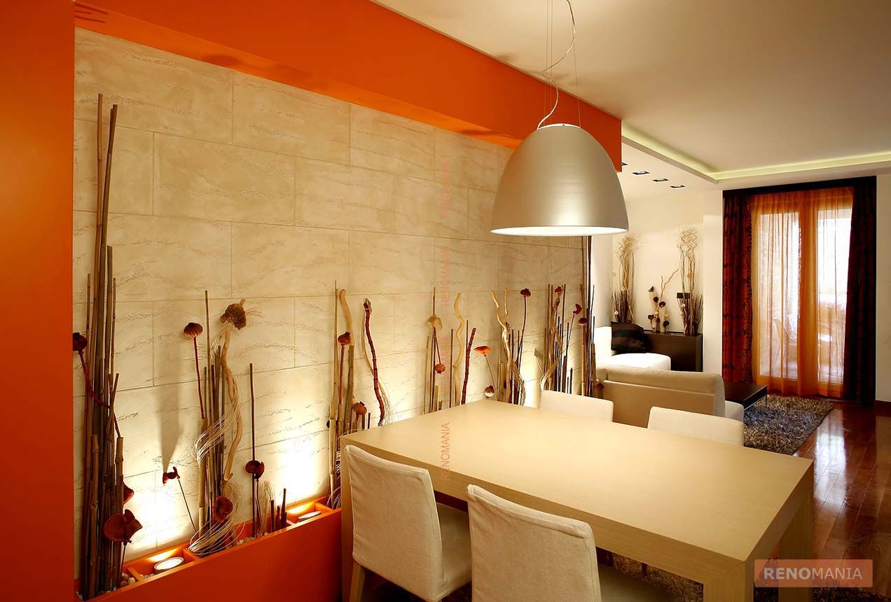 orange wall, wall niche, white dining table, hanging lamp | Ideas ...
