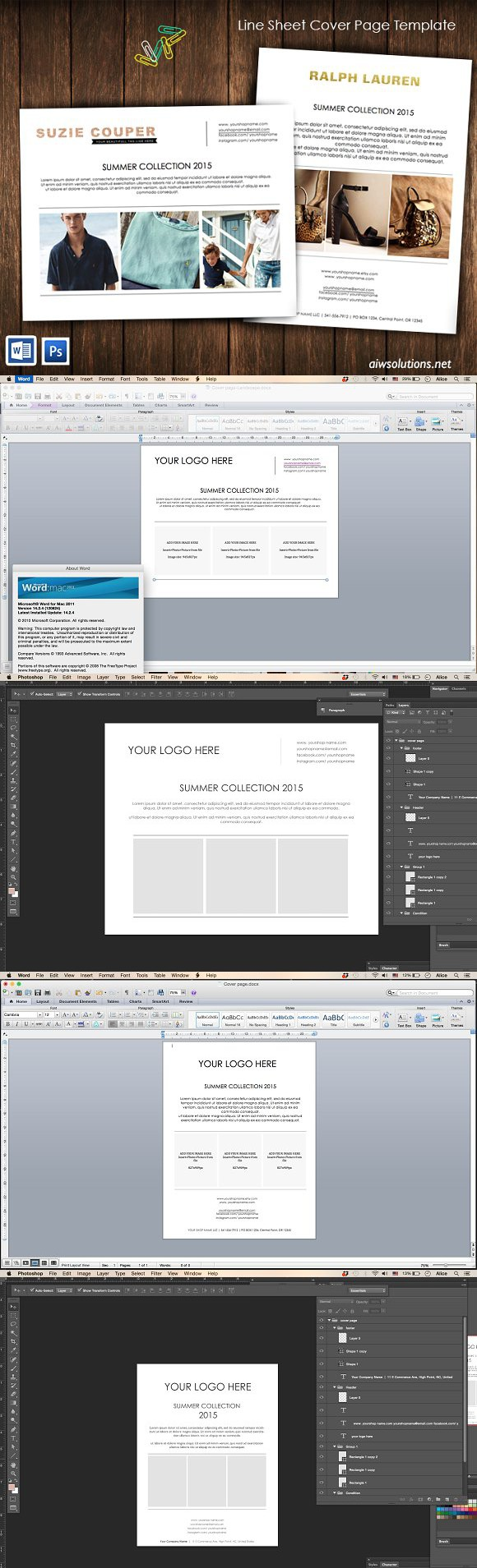 Stationery Templates Line Sheet Cover Page id