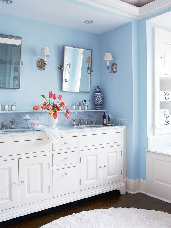 Using Color Throughout A House Blue Bathroom Interior Light