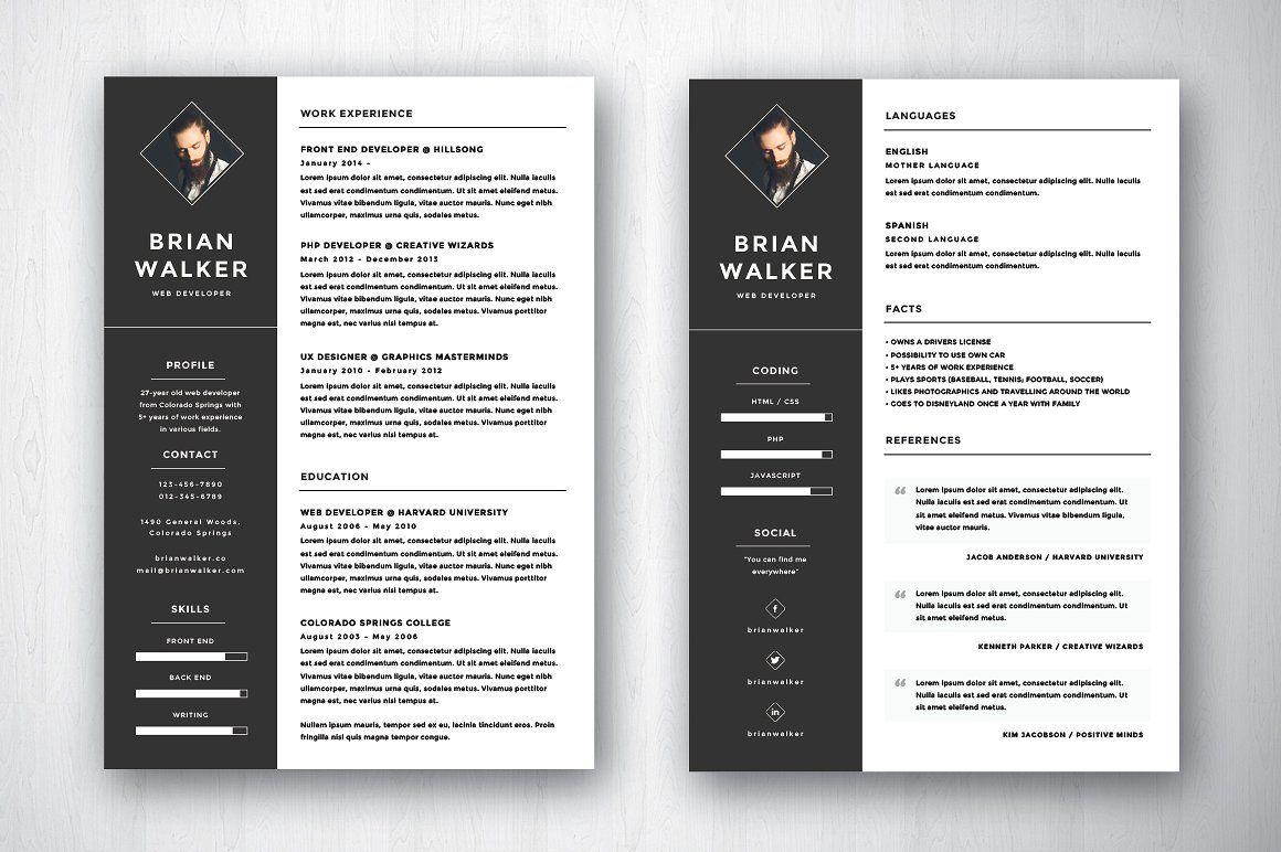 Brian Walker A4/US Resume Resume references, Resume