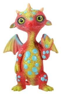 Gregory The Yellow and Orange Dragon with Teal Polka Dots Figurine
