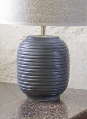 Black ridged small table lamp