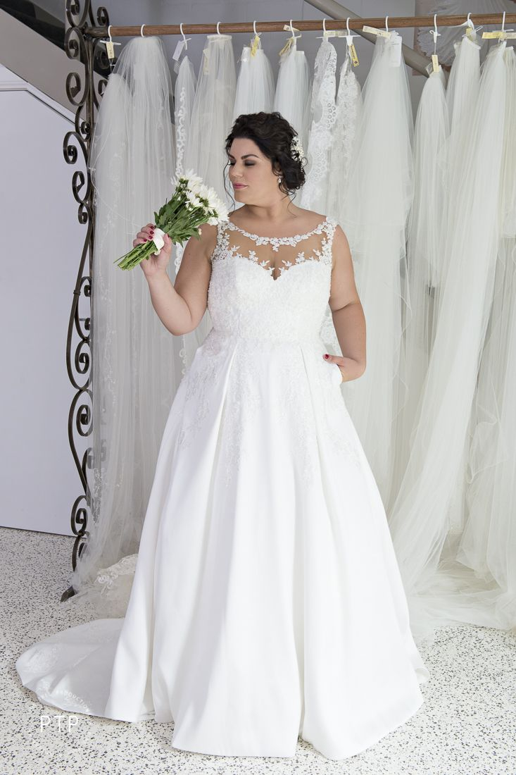 Plus size white wedding dresses  Plus size bride in Essense of Australia gown  size