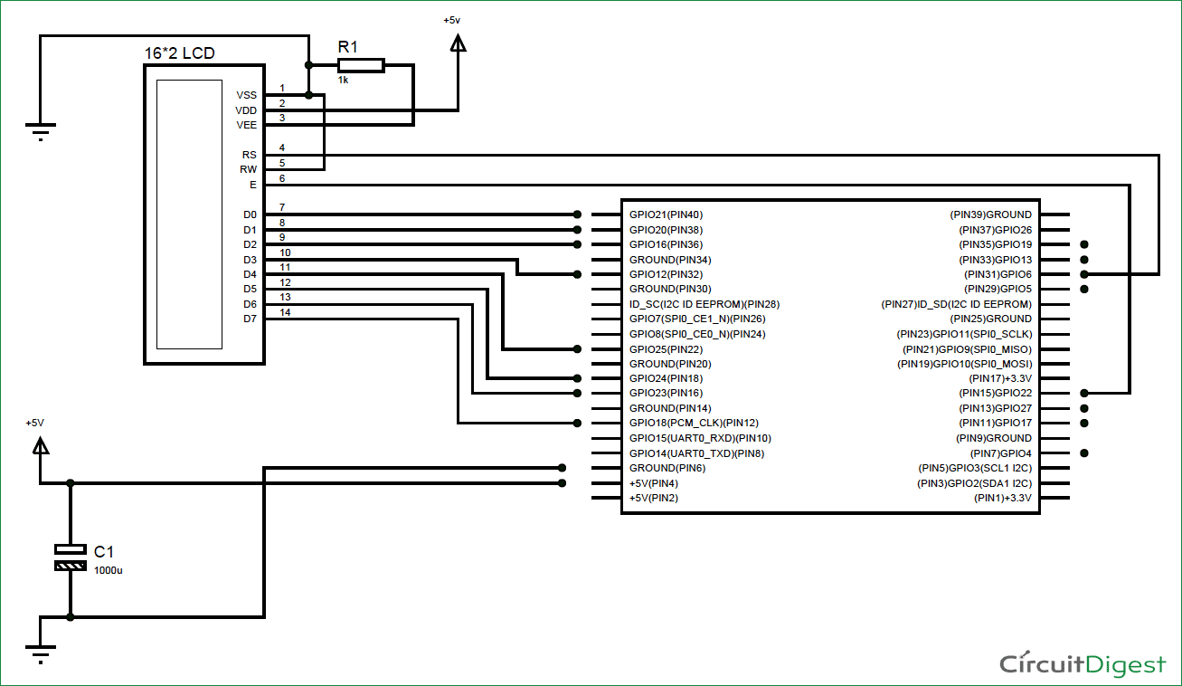 lcd interfacing with raspberry pi circuit diagram smart home rh pinterest com