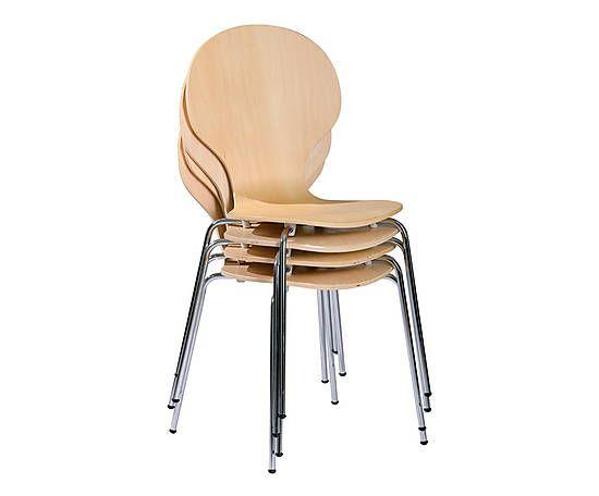 Set 4 Sedie.Set Di 4 Sedie In Metallo E Multistrato Basin Naturale