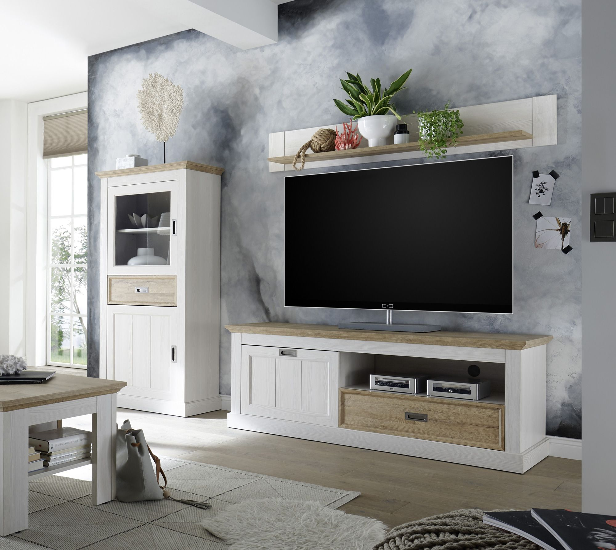 Campero Wohnwand 2 Material Mdf Weiss Wildeichefarbig Wohnen Wohnwand Weiss Wohnungsideen Wohnzimmer