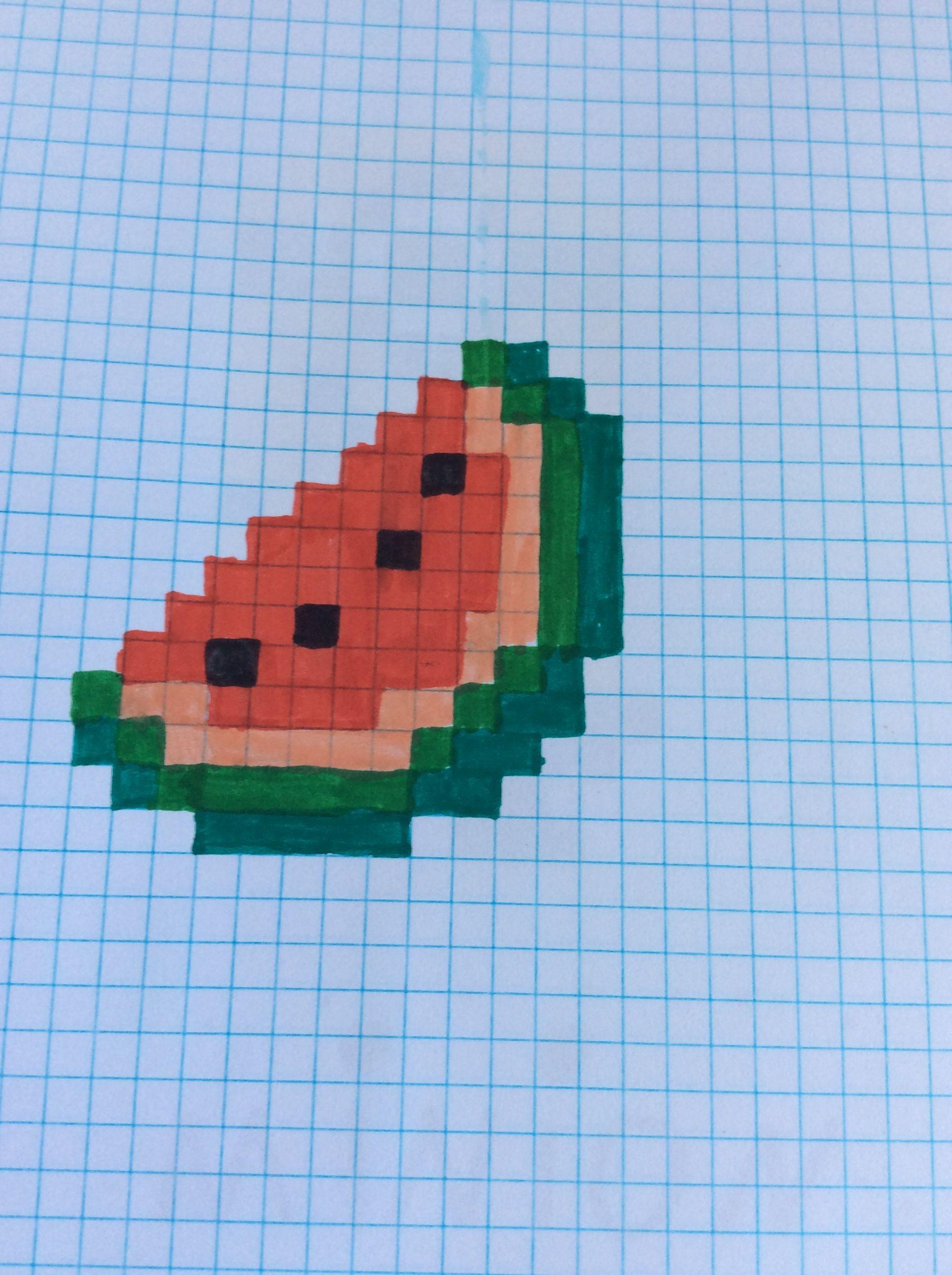 Pixel Art Watermeloen Pixel Art Dessin Pixel Et Dessin