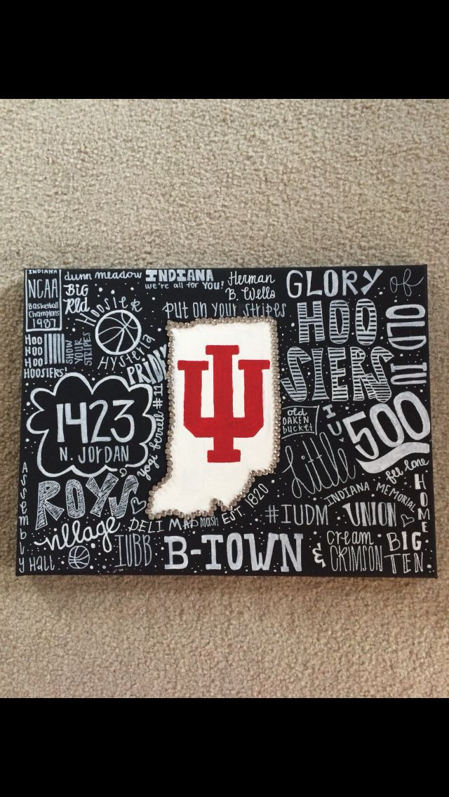Indiana University Canvas By Kinsey Reese College Dorm Canvas College Canvas Art Canvas Painting Diy