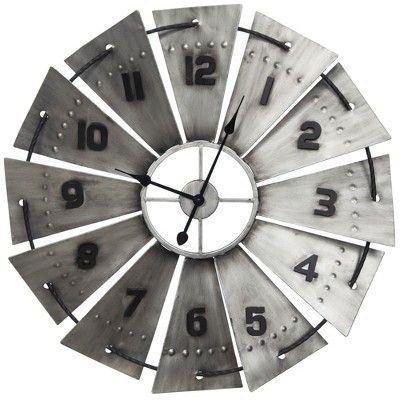 31 galvanized metal and wood windmill wall clock silver gallery rh pinterest com