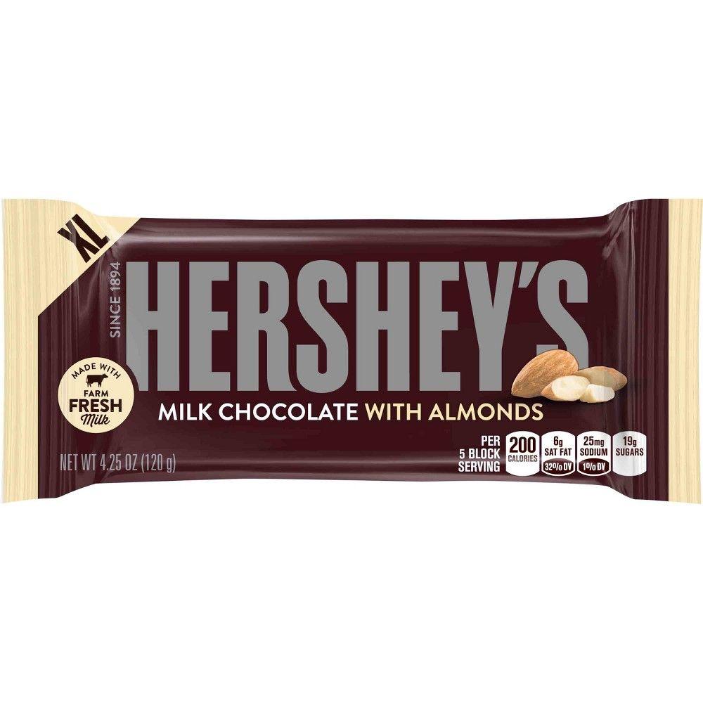 Hershey S Milk Chocolate Bar With Almonds 4 25oz Hershey