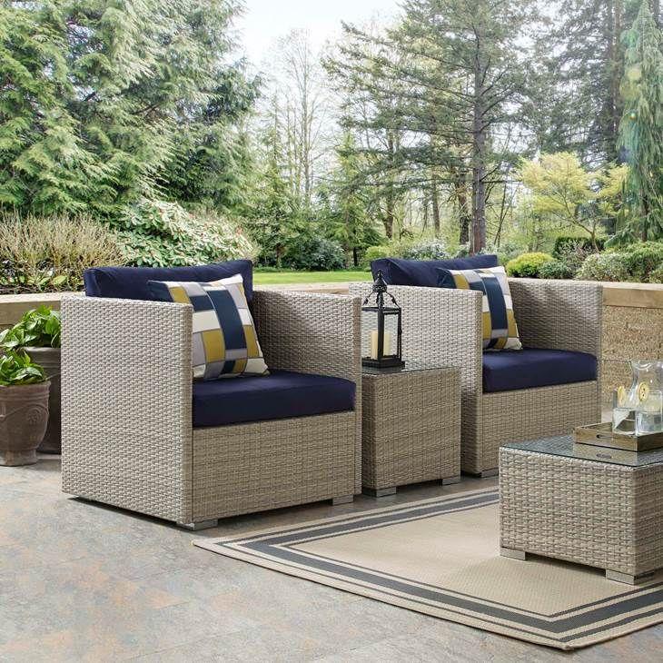 repose sunbrella fabric outdoor patio armchair in light gray navy rh pinterest com